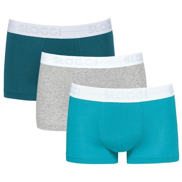 Sloggi 3 pakkaus Men GO Hipster - Grey/Turquoise * Kampanja *  - Size: 10198138 - Color: hamaa/Turkoosi