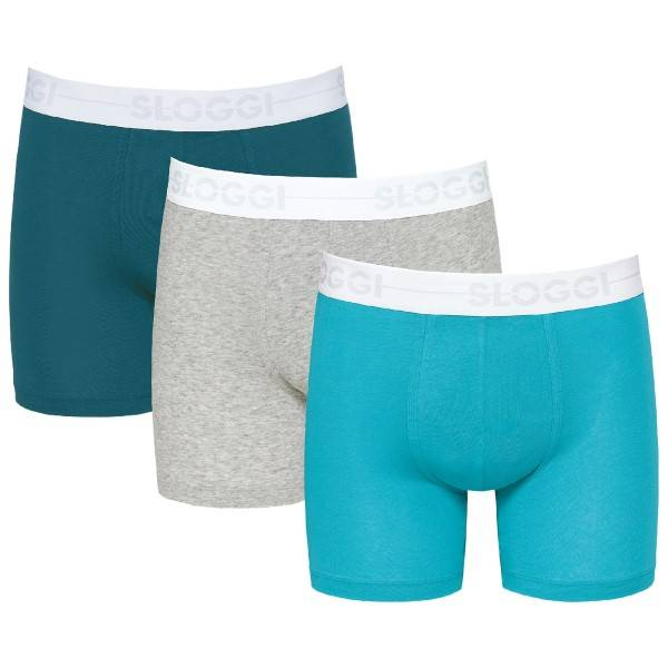 Sloggi 3 pakkaus Men GO Short - Grey/Turquoise * Kampanja *  - Size: 10198022 - Color: hamaa/Turkoosi