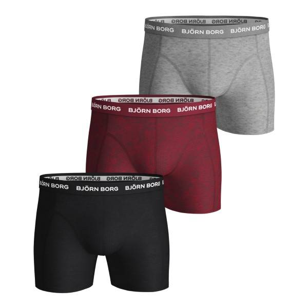 Björn Borg 3 pakkaus Essential Shorts 1933 - Grey/Red  - Size: 1941-1207 - Color: harma/punainen