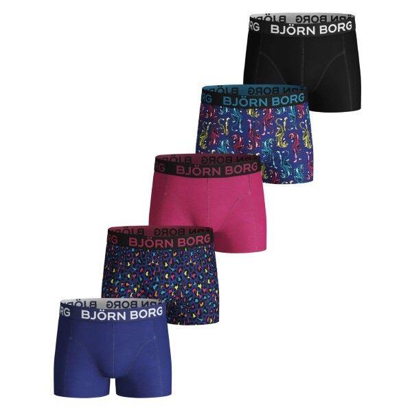 Björn Borg 5 pakkaus Cotton Stretch Shorts For Boys 1935 - Blue Pattern * Kampanja *  - Size: 1931-1729 - Color: Sininen kuvioi