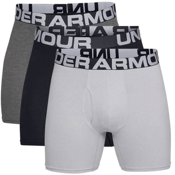Under Armour 3 pakkaus Charged Cotton 6in Boxer - Black/Grey  - Size: 1327426 - Color: musta/harm