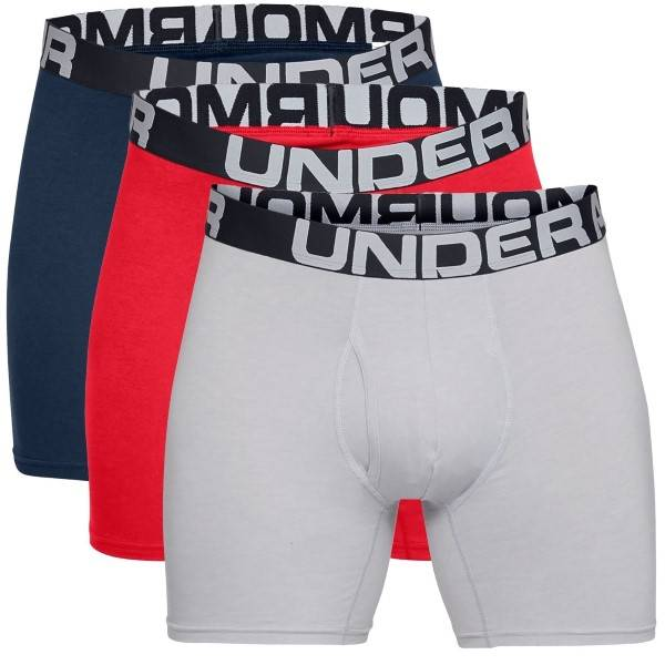 Under Armour 3 pakkaus Charged Cotton 6in Boxer - Red/Blue  - Size: 1327426 - Color: pun/sin