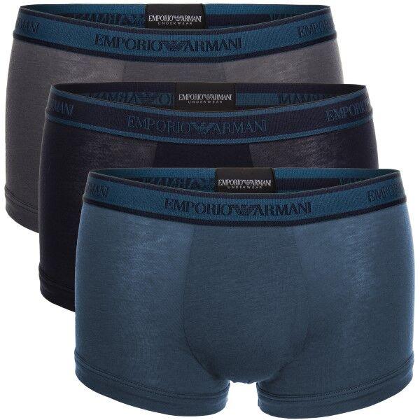 Emporio Armani 3 pakkaus Core Logoband Trunks - Grey/Turquoise  - Size: 111357-9A717 - Color: hamaa/Turkoosi