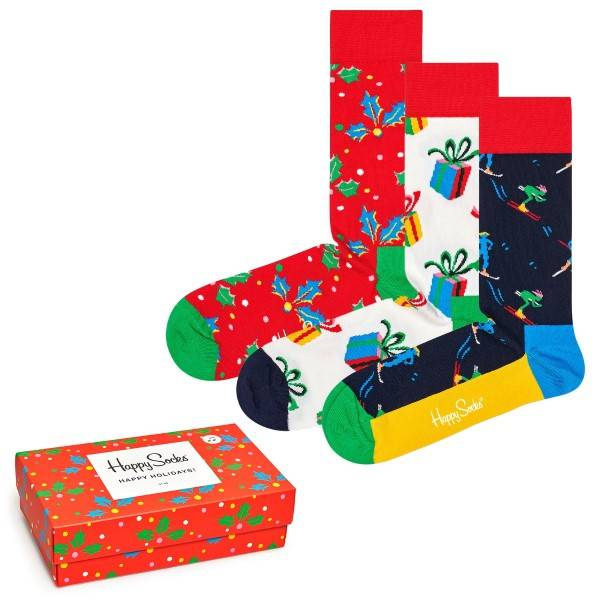 Happy socks 3 pakkaus Playing Holiday Gift Box - Mixed  - Size: XMAS08-6500 - Color: Multi-colour