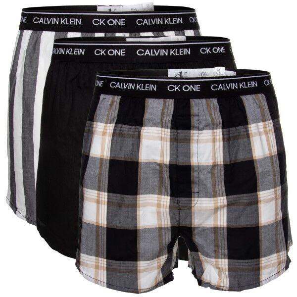 Image of Calvin Klein 3 pakkaus One Cotton Slim Fit Boxer - Black pattern-2  - Size: 000NB3000A - Color: Musta kuviollinen