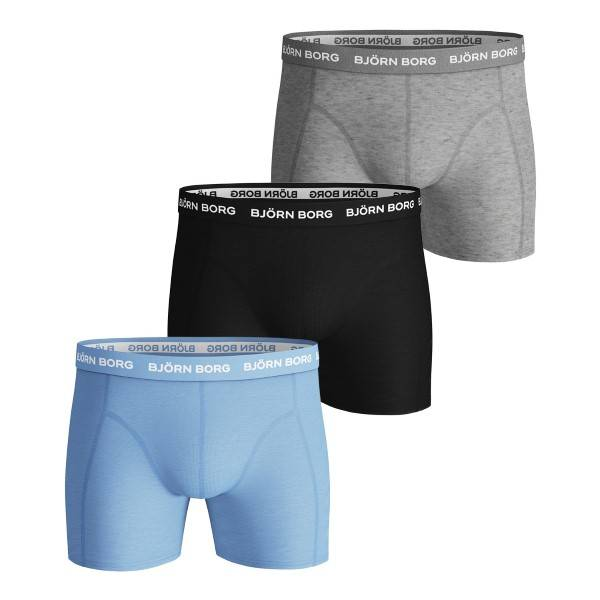 Björn Borg 3 pakkaus Essential Shorts 213 - Grey/Black  - Size: 2021-1111 - Color: harmaa/musta