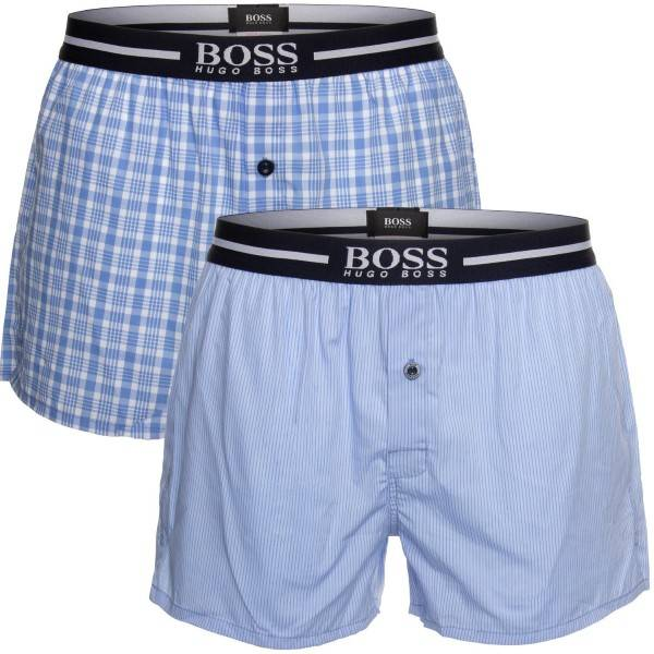 Hugo Boss BOSS Woven Boxer Shorts With Fly 2 pakkaus - Blue  - Size: 50388953 - Color: sininen