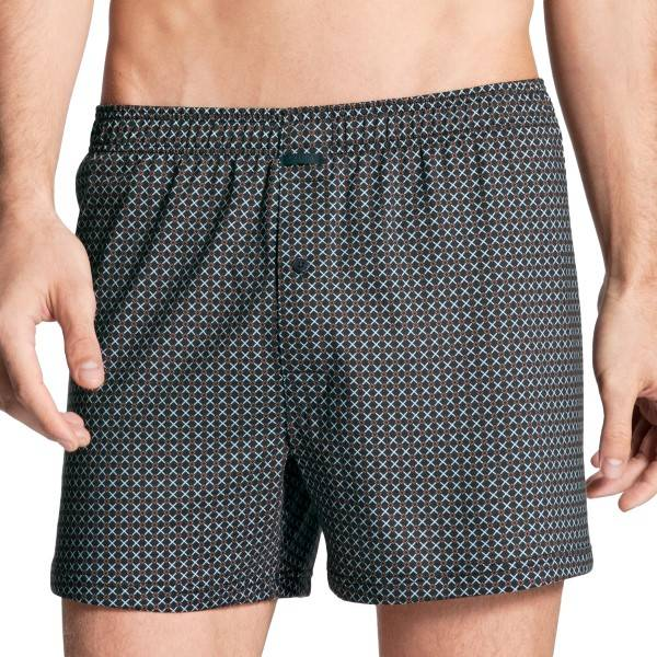 Calida Urban Boxer Shorts With Fly - Blue Pattern  - Size: 24283 - Color: Sininen kuvioi
