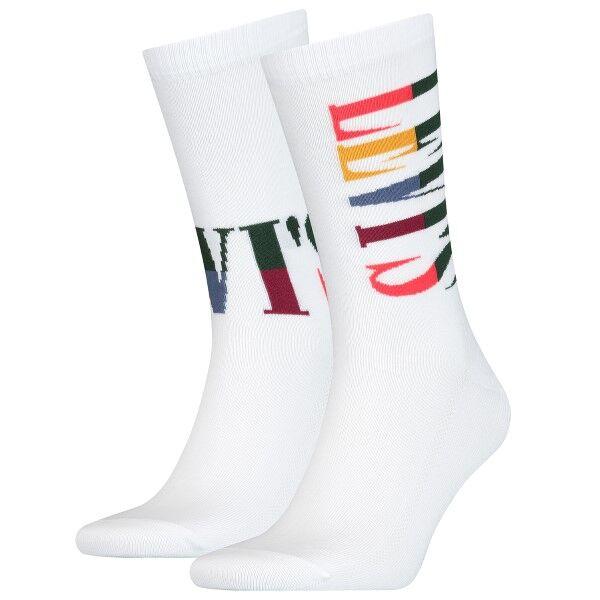 Levis 2 pakkaus Logo Retro Regular Socks - White  - Size: 100000589 - Color: valkoinen