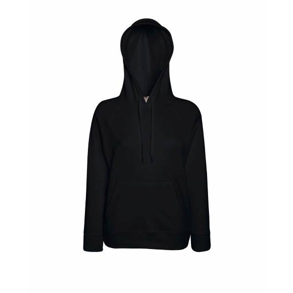 Fruit of the Loom Lady-Fit Light Hooded Sweat - Black