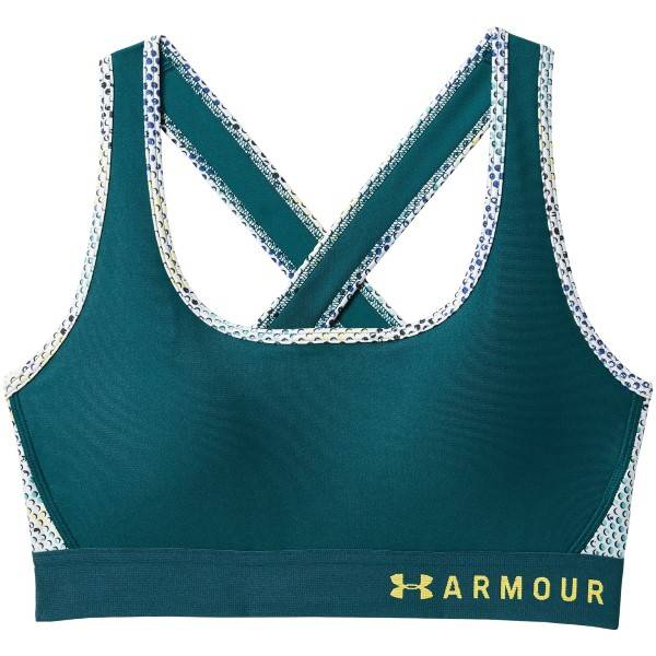 Under Armour Mid Crossback Print Sports Bra 17 - Green Pattern * Kampanja *