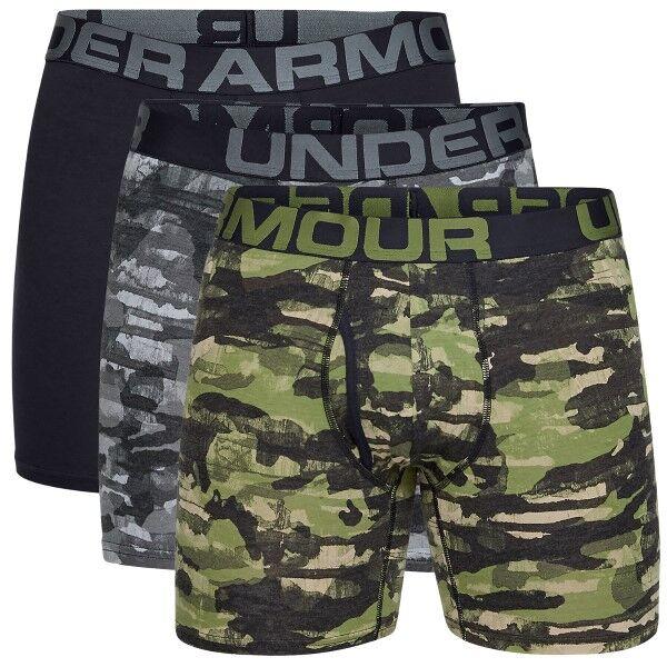 Under Armour 3 pakkaus Charged Cotton Boxerjock - Black/Green