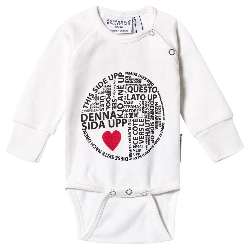 Geggamoja This Side Up Onesie White50/56 cm