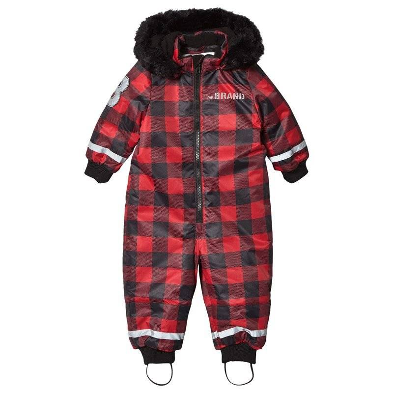 The BRAND Overall Checked Red With Black Fur68/74 cm