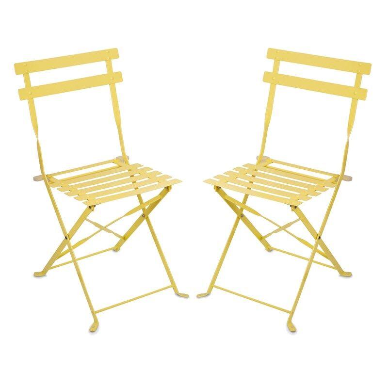 JOX Furniture Kahvilatuoli Metalli Keltainen 2 kpl