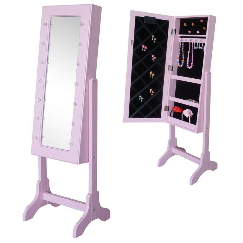 JOX Furniture Lattiapeili & korusäilytys LED-valaistuksella Vaaleanpunainen