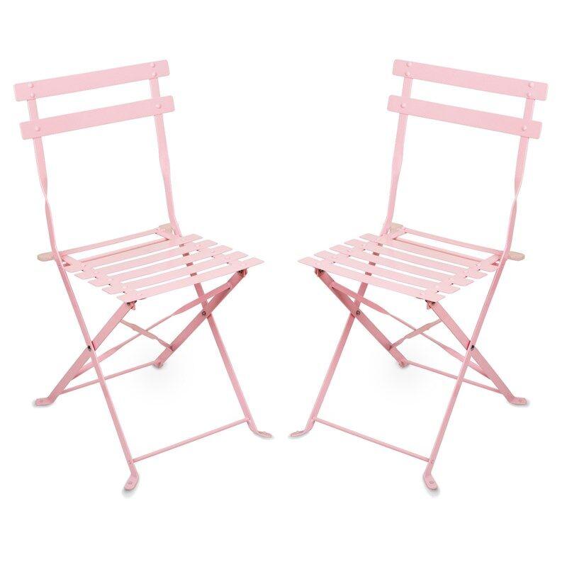 JOX Furniture Kahvilatuoli Metalli Vaaleanpunainen 2 kpl