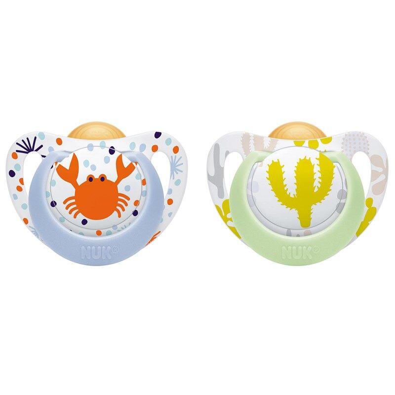 NUK Genius Color Latex koko 2 Sininen rapu/Vihreä kaktus Tuplapakkaus
