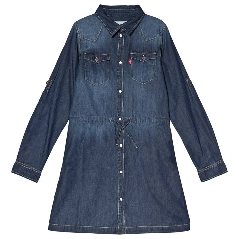 Levis Kids Dark Wash Denim Long Sleeve Dress3 years