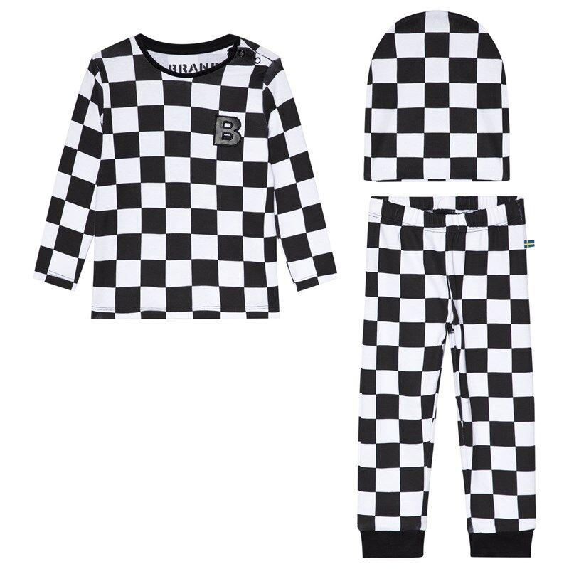 The BRAND Ruudullinen Baby Set Musta/Valkoinen56/62 cm