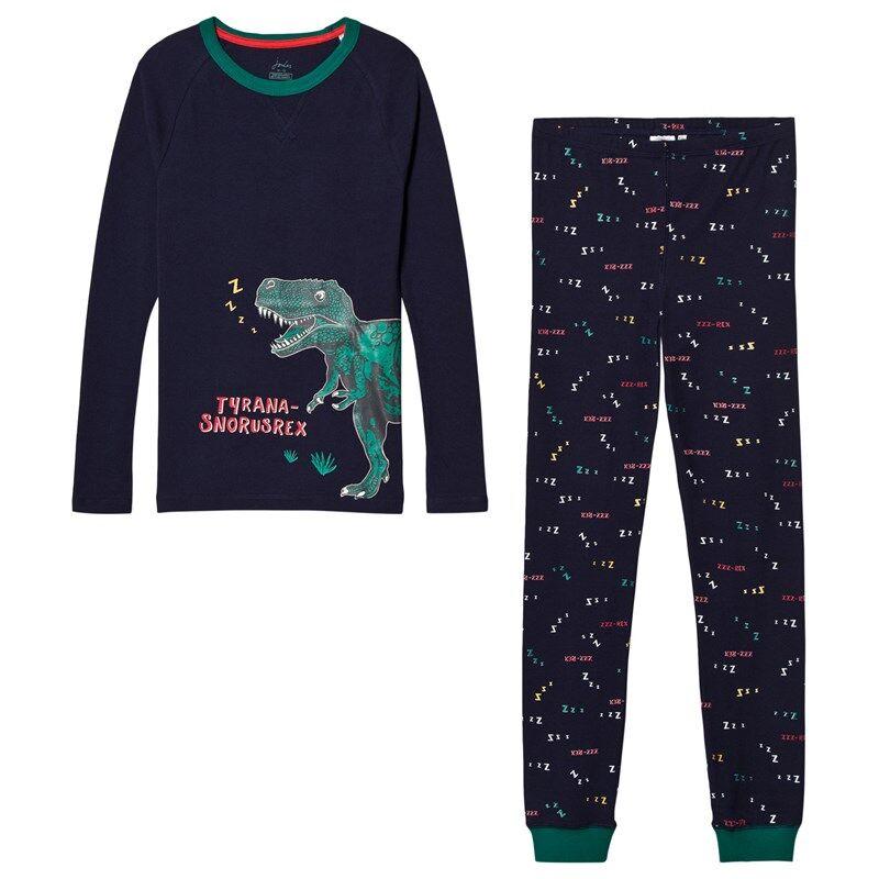 Joules Snooze Pyjama Pimeässä loistava T-Rex Painatus Laivastonsininen1 year