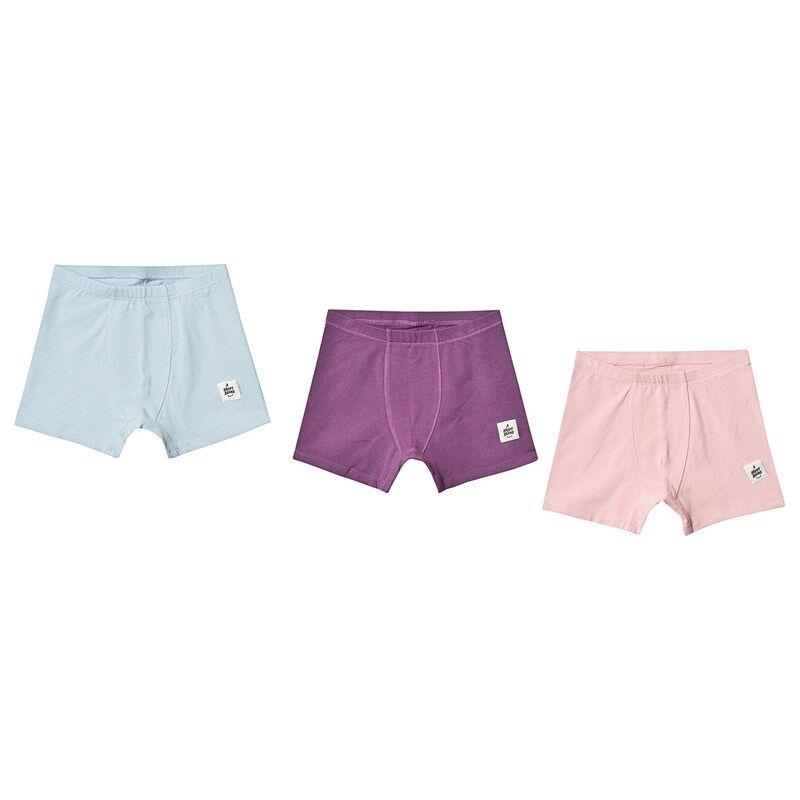 A Happy Brand 3-pack alushousut Vaaleanpunainen/Turkoosi/Violetti98/104 cm
