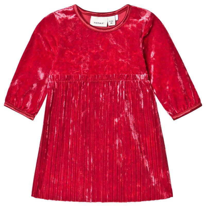 Name It Selina Ls Vel Dress Jester Red74 cm (6-9 kk)