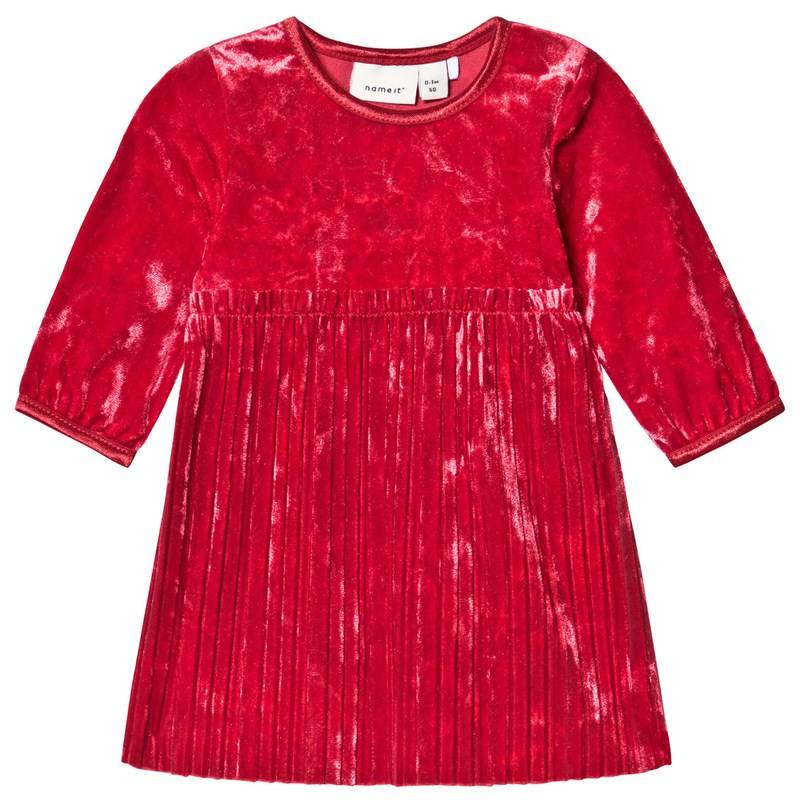 Name It Selina Ls Vel Dress Jester Red56 cm (1-2 kk)