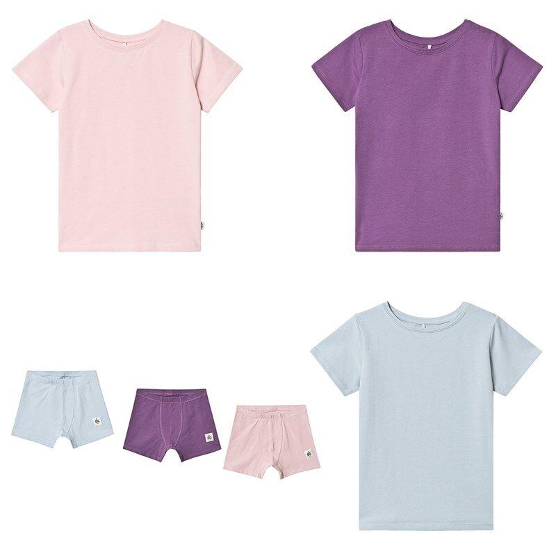 A Happy Brand 3-pakkaus T-paitoja ja Alushousuja väreissä vaaleanpunainen/turkoosi/violettiOne Size