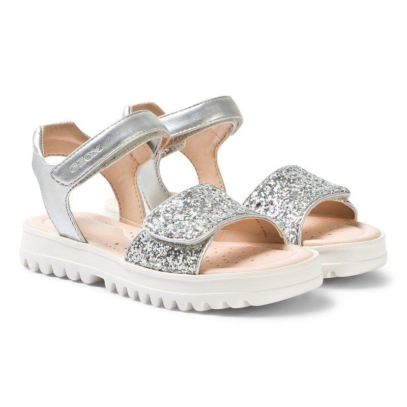 Geox Silver Coralie Glitter Velcro Sandals30 (UK 11.5)