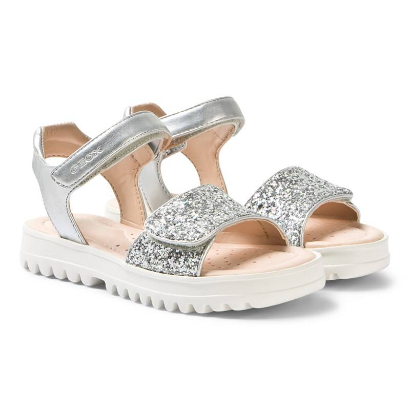 Geox Silver Coralie Glitter Velcro Sandals32 (UK 13)