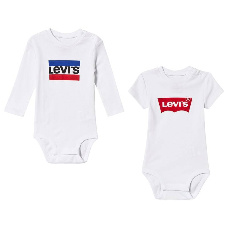 Levis Kids 2 Pack of White Branded Bodies9 months