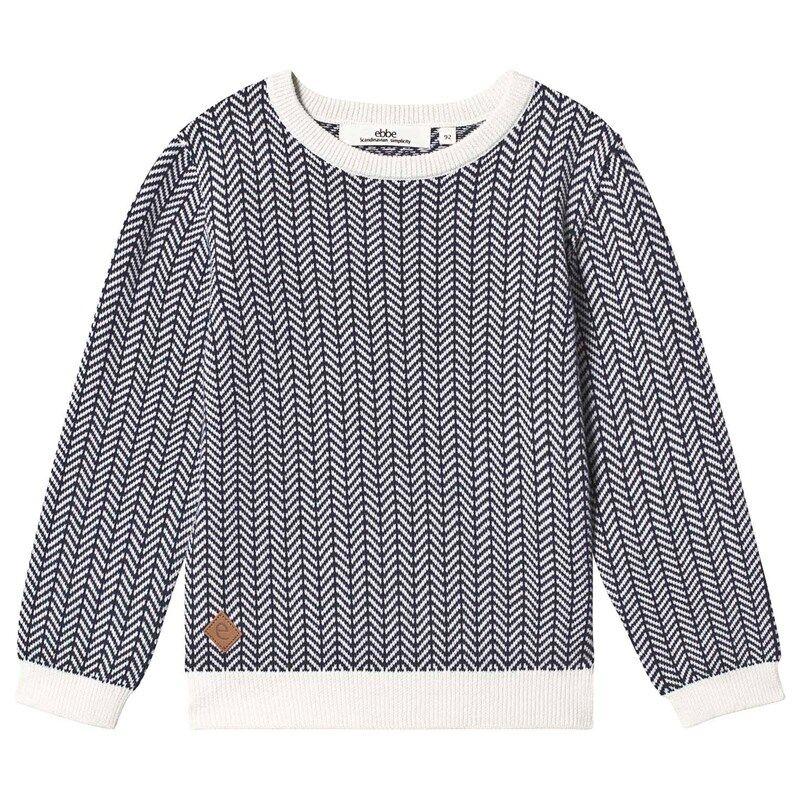 ebbe Kids Ivan Knitted Sweater Blue/White Fishbone134 cm (8-9 v)