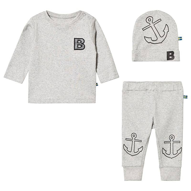 The BRAND BABY KIT HAT TEE AND PANT GREY MELANGE68/74 cm