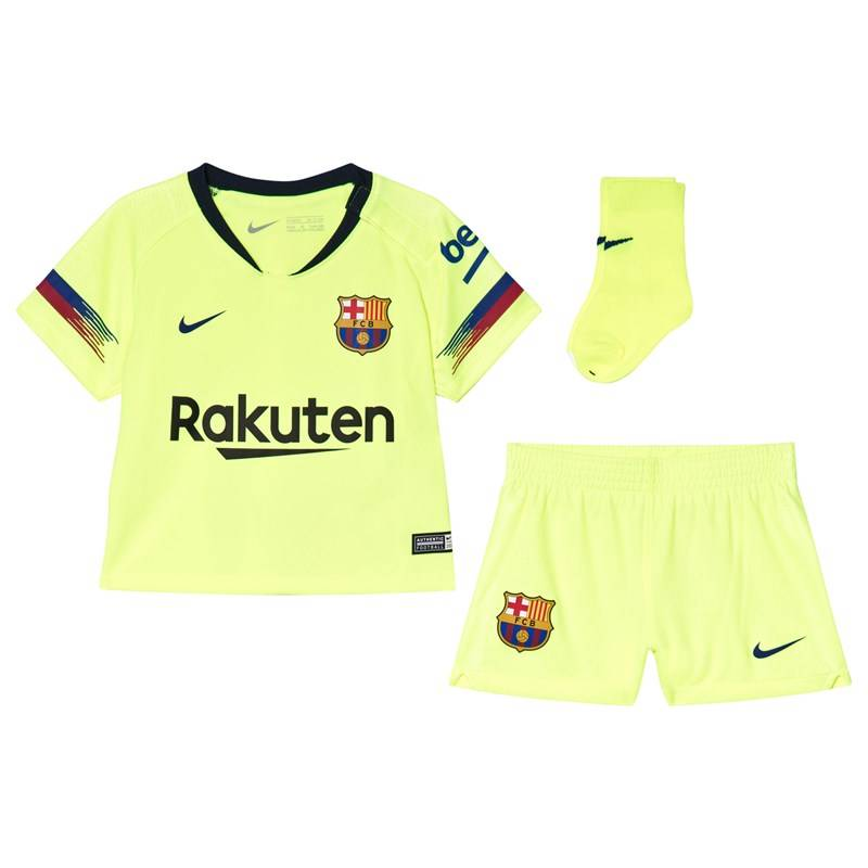 Barcelona FC Yellow Breathe FC Barcelona Infants Away Kit9-12 months