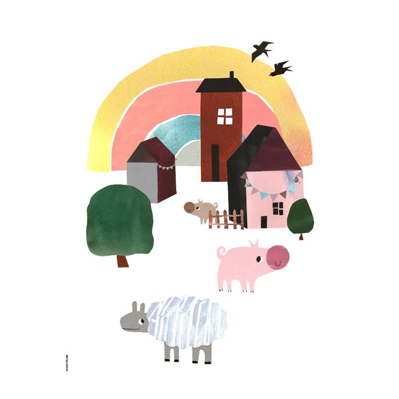 I Love My Type Cosy Village Life White A3