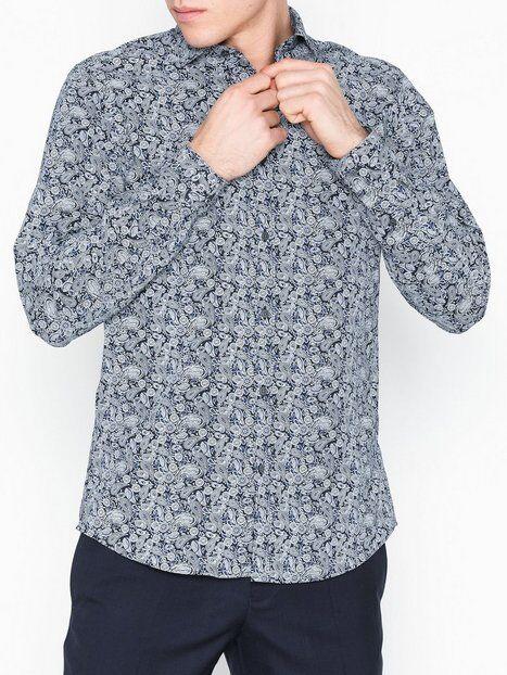 Image of Premium by Jack & Jones Jprray Paisley Shirt L/S Plain Kauluspaidat Tummansininen