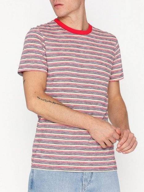 Image of Selected Homme Slhkasper Stripe Ss O-Neck Tee W Ca T-paidat ja topit Tummanpunainen