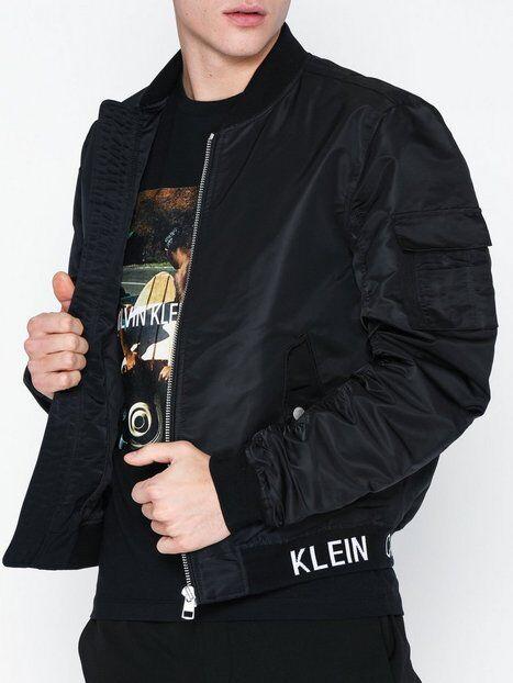 Image of Calvin Klein Jeans Instit Hem Logo MA1 Bomber Takit Musta
