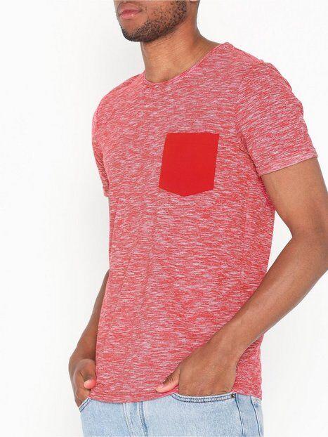 Image of Selected Homme Slhjack Ss O-Neck Tee W T-paidat ja topit Tummanpunainen