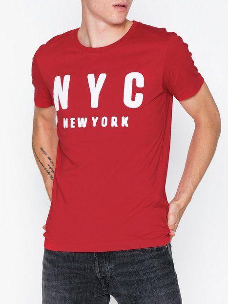 Image of Selected Homme Slhsimon City Ss O-Neck Tee W T-paidat ja topit Tummanpunainen