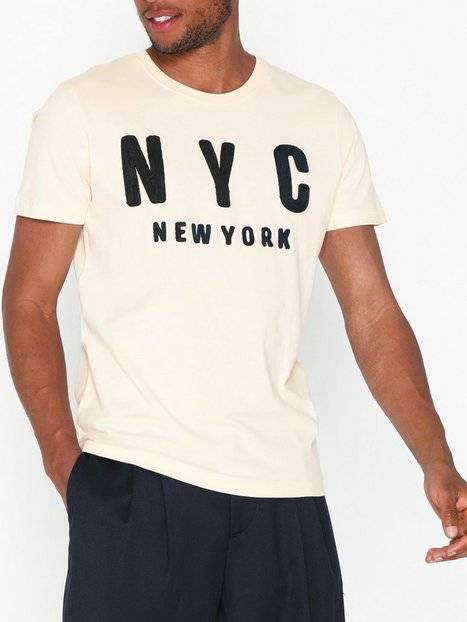 Image of Selected Homme Slhsimon City Ss O-Neck Tee W T-paidat ja topit Offwhite