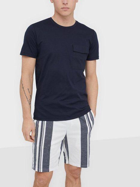 Image of Selected Homme Slhperth Ss O-Neck Tee B T-paidat ja topit Tummansininen