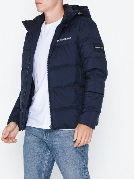 Image of Calvin Klein Jeans Hooded Down Puffer Jacket Takit Tummansininen