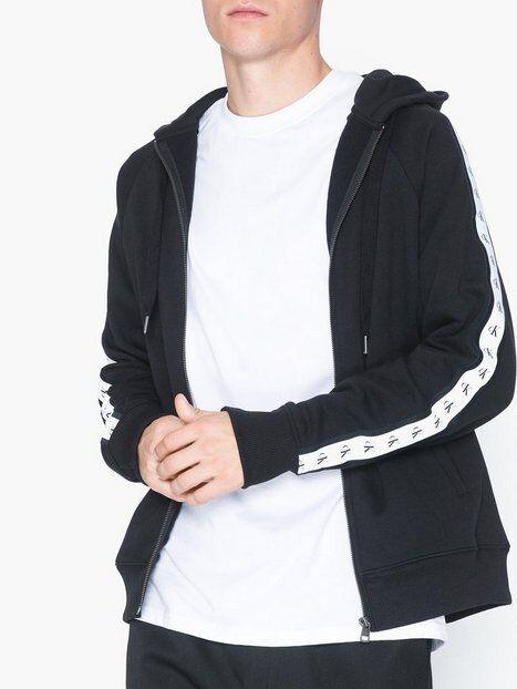 Image of Calvin Klein Jeans Monogram Tape Reg Zip Through Puserot Musta