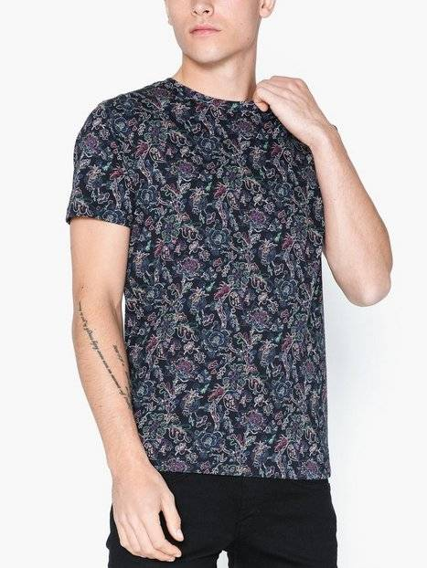 Image of Selected Homme Slhneo Aop Ss O-Neck Tee B Ex T-paidat ja topit Musta