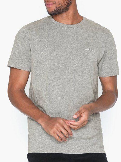 Image of Selected Homme Slhnick Emb Ss O-Neck Tee W T-paidat ja topit Vaaleanharmaa