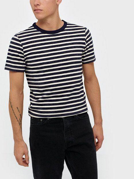 Image of Selected Homme Slhbjorn Stripe Ss O-Neck Tee W T-paidat ja topit Tummansininen
