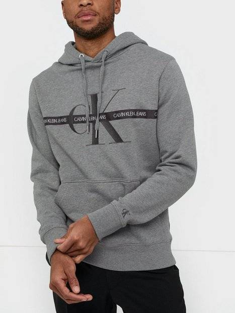 Image of Calvin Klein Jeans Taping Through Monogram Hoodie Puserot Grey