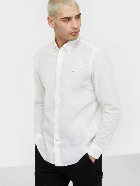 Image of Calvin Klein Button Down Cotton Linen Shirt Kauluspaidat White